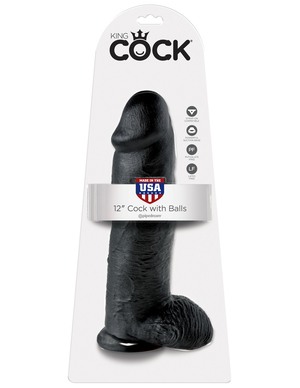 """King Cock 12"""" With Balls Realistic Suction Cup Dildo"""