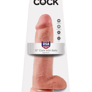 "King Cock 12"" With Balls Realistic Suction Cup Dildo"
