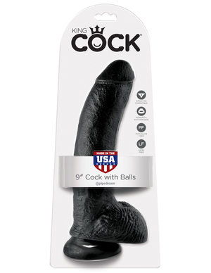 """King Cock 9"""" With Balls Realistic Suction Cup Dildo"""